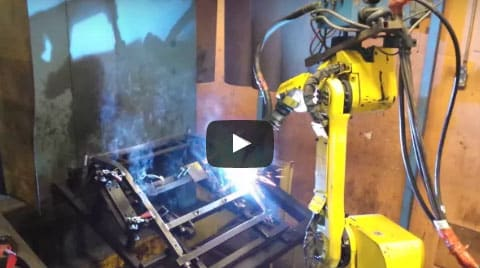 Welding carried out by a robot MAG